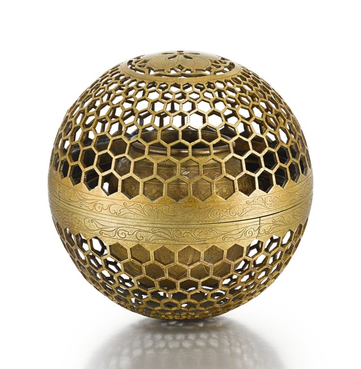 An openwork brass incense burner, India, Deccan, 19th century Estimate 6,000 — 8,000 GBP LOT SOLD. 10,625 GBP (Hammer Price with Buyer's Premium)