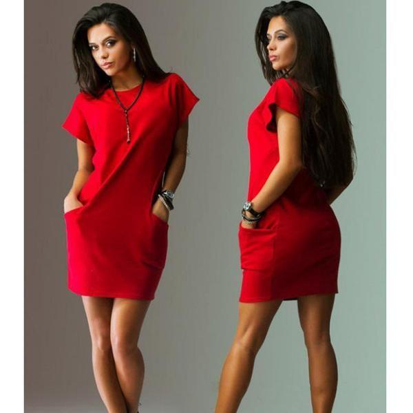 Black Red Women Dress Short Sleeve Pockets Loose Casual  Vestido Corto O-Neck Women's Mini Dress