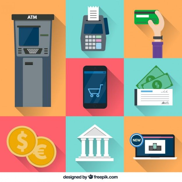 Colorful financial icons Free Vector