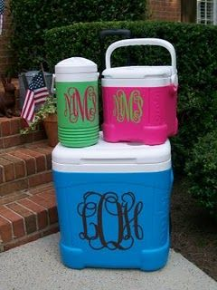 monogrammed coolers, why haven't I done this!?  Great wedding Party Gifts. Fill with their favorite beverage and coolie to keep it cold.  Combine with a flip flops, a beach towel, Frisbee, or just about anything else.
