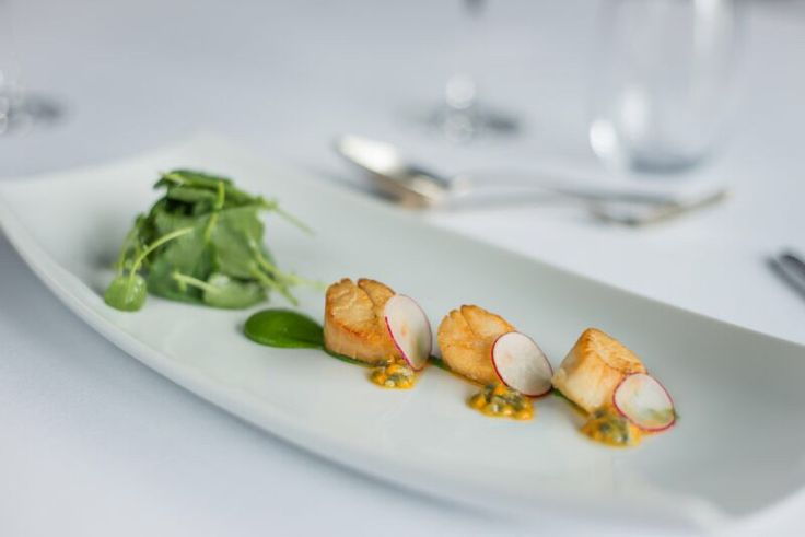 Seared King Scallops with Watercress, Radish, Passion Fruit TO BOOK email eat@theg.ie or call +353 91 865200. www.theghotel.ie