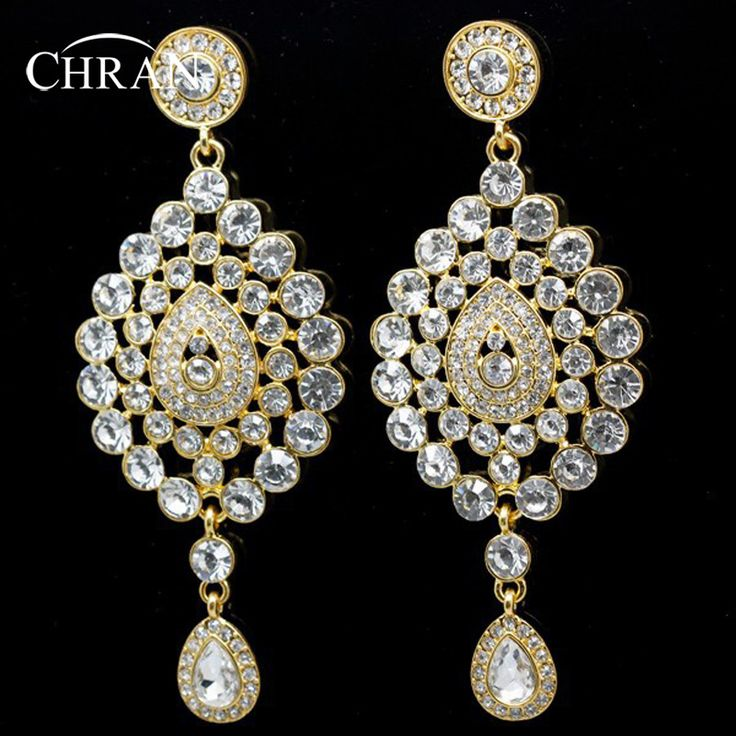 Chran New Fashion High Quality Gold Plated Rhinestone Alloy Indian Style Big Bridal Drop Earring Wedding Jewelry FREE SHIPPING