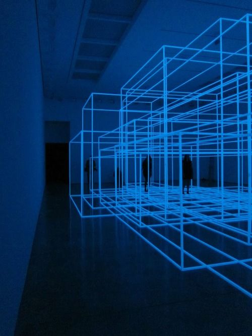 Anthony Gormley. I saw one of his pieces like this in SoHo. It's nice to be in the room and walk around it.