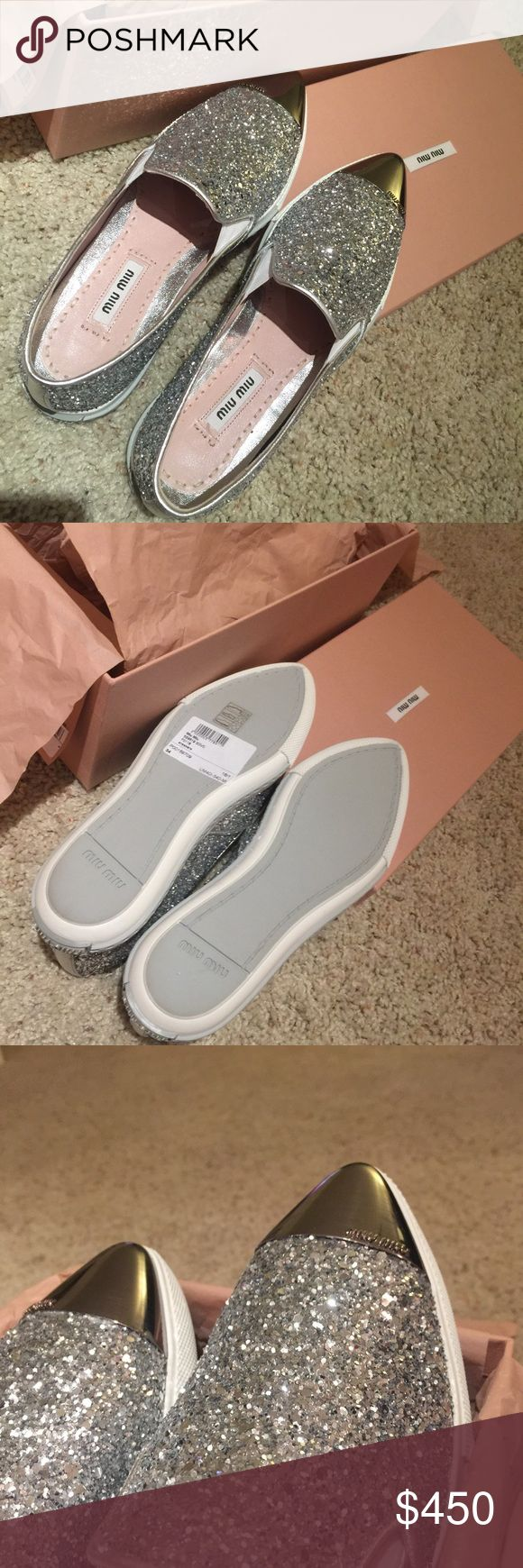 Miu Miu Metal Toe Cap Slip-on Sneakers Brand New Authentic Miu Miu Metal Toe Cap Slipon Sneakers. Size 34 but fits 35 since Miu Miu runs big. Color: Gorgeous Sparkling Silver. $400 via P or Mercari. FIRM. MSRP :: $535. Serious Buyers Only. NO TRADE. Miu Miu Shoes Sneakers