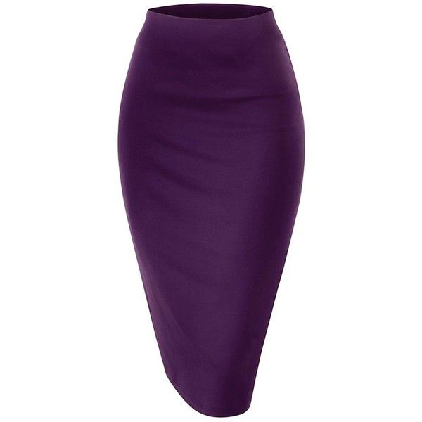 NBU Women Elastic Waist Band Stretchy Fabric Pencil Skirt ($8.99) ❤ liked on Polyvore featuring skirts, elastic waist skirt, elastic waistband skirt, knee length pencil skirt, pencil skirt and purple skirt