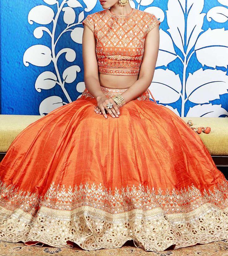Orange Lehenga Set With Gota Patti