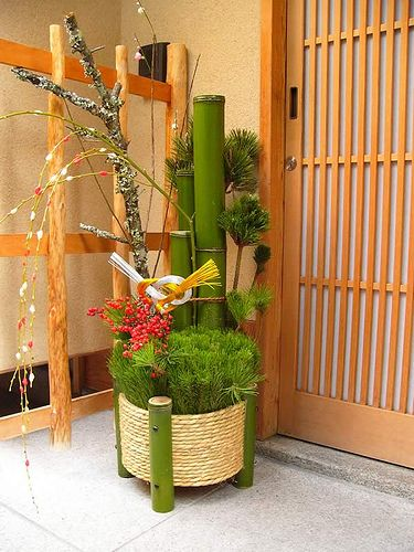 """pamandjapan: 門松 (Gate Pine) Kadomatsu is a traditional Japanese decoration for the New Year placed in pairs in front of homes to welcome ancestral spirits or kami of the harvest. They are placed after Christmas until January 7 and are considered temporary housing for the kami. """
