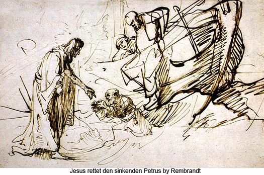 Jesus rettet den sinkenden Petrus by Rembrandt