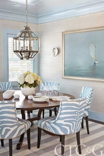 Blue White Zebra Chairs Beach Dining RoomCoastal