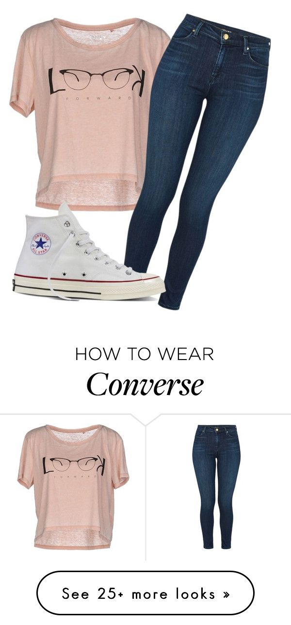 """.."" by madihahnas on Polyvore featuring ONLY, J Brand and Converse"