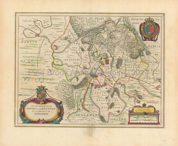 Sedan Charleville-Mezieres France Antique Map Blaeu 1650 Original | eBay