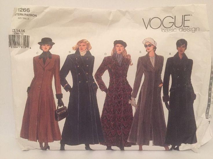 Vogue Sewing Pattern Women's Winter Coats Size 12,14,16 No.1266