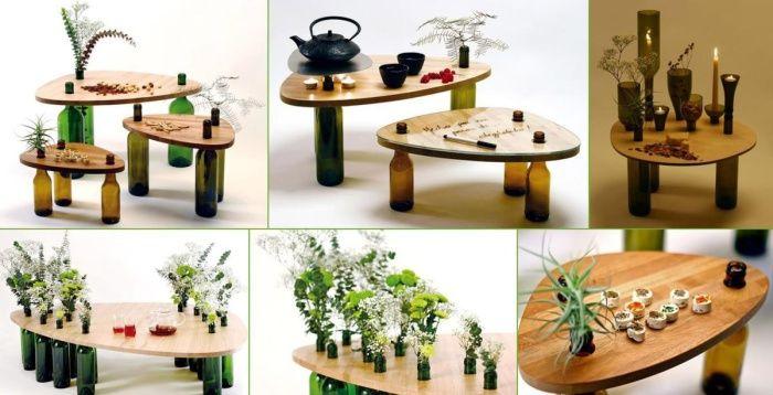 Самодельные маленькие кофейные столики.