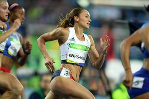 Jessica Ennis-Hill competes in the 200m and leads the field at the end of day…