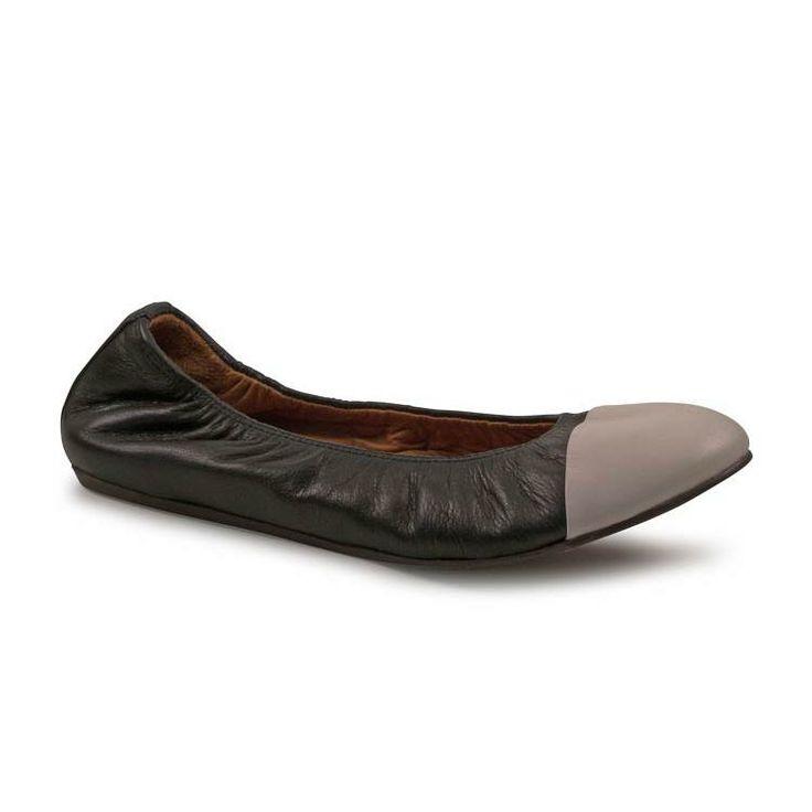 Lanvin women's black Calf leather Grey toe flat ballerina shoes