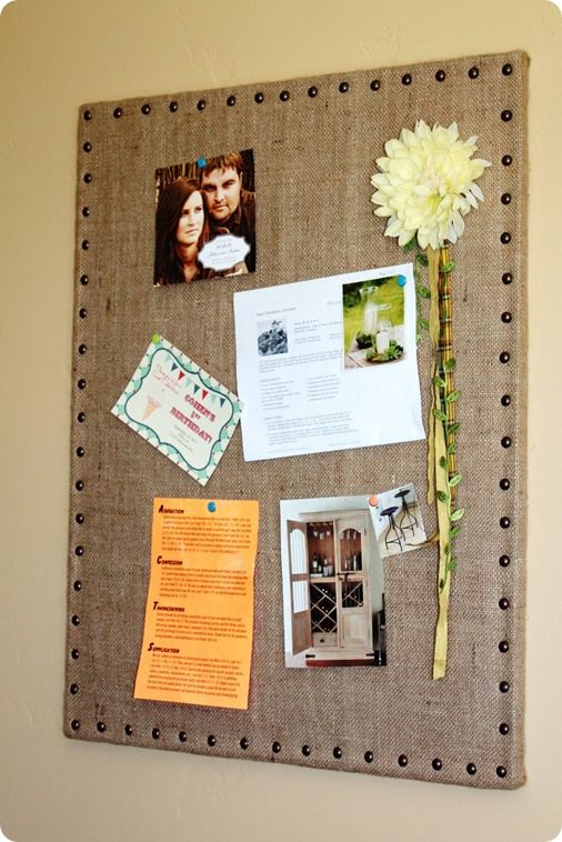 DIY burlap message board - Ballard Designs inspired  I could easily add nail heads to the burlap message board I made.