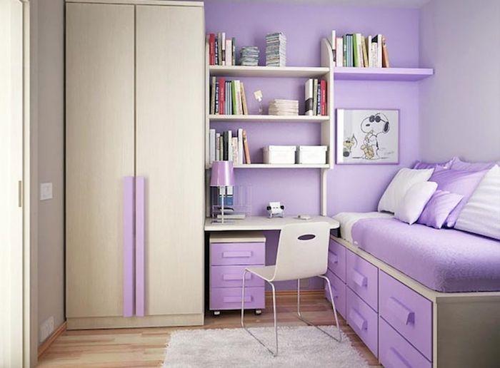 Mädchen Jugendzimmer Kleines Teenager Zimmer Einrichten Lila Und Gelb Ideen  Zum Gestalten Schreibtisch Regale Deko