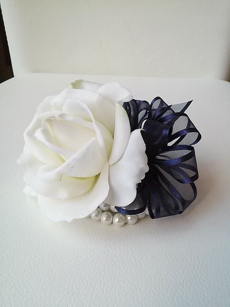 Ready to Ship White and Navy Wrist Corsage-White Rose Corsage-Wedding Corsage-Prom Corsage-Homecoming Corsage by BecauseOfLoveFloral on Etsy https://www.etsy.com/listing/256106069/ready-to-ship-white-and-navy-wrist