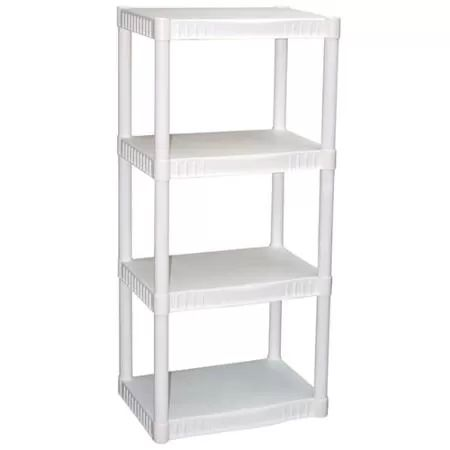 Plano 4-Tier Heavy-Duty Plastic Shelves, White