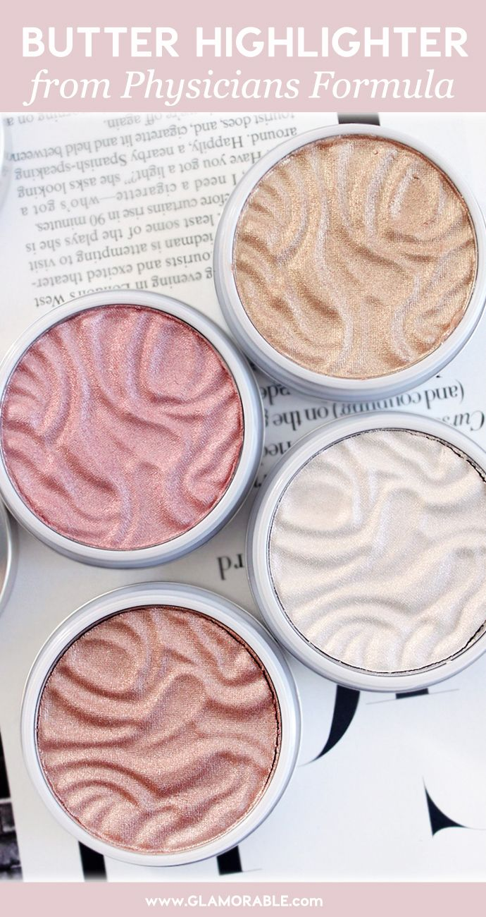 Physicians Formula Butter Highlighters in Champagne, Pearl, Rose Gold, Pink Swatches, Review - via @glamorable #physiciansformula #makeup #highlighter #strobing