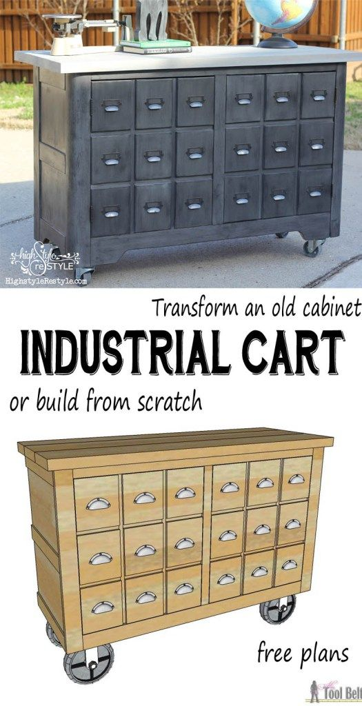 Convert an old cabinet into an industrial cart or build one from scratch with these free woodworking plans.  You have got to see the before pics, unbelievable!!!