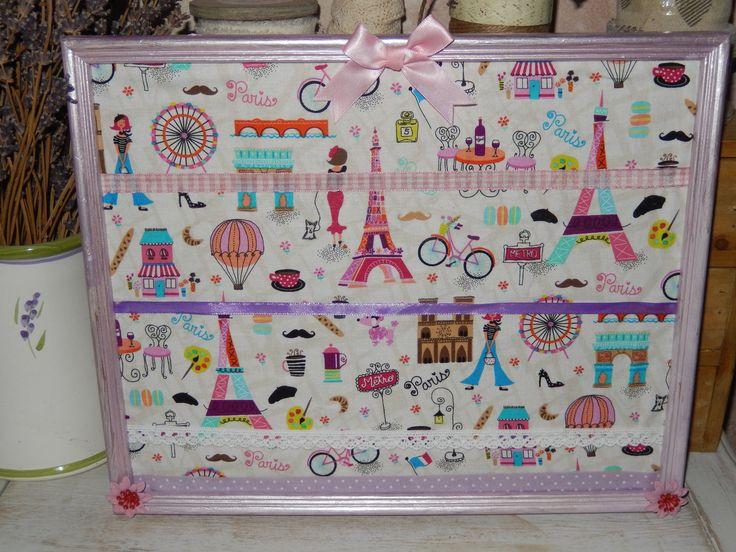 """présentoir range barrettes ou boucles d'oreilles """"Paris bohème girly"""""""