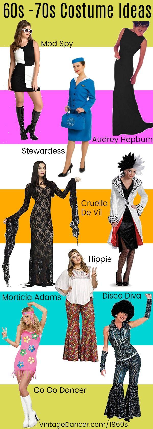 1960s-1970s Costume Ideas - Hippie, Disco, Stewardess, Morticia Adams, Audrey Hepburn, Spy, Go Go Dancer, Cruella De Vil, and more at VintageDancer.com/1960s