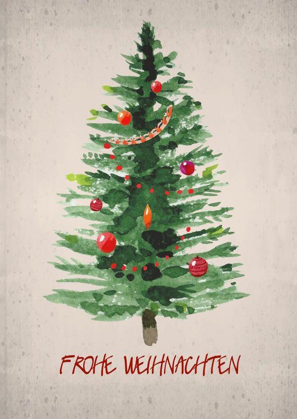Tannenbaum in Aquarell | Frohe Weihnachten | Echte Postkarten online versenden…