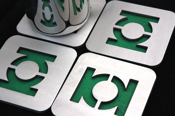 Green Lantern Coaster Set of 4, Steel, felt, DC Comics