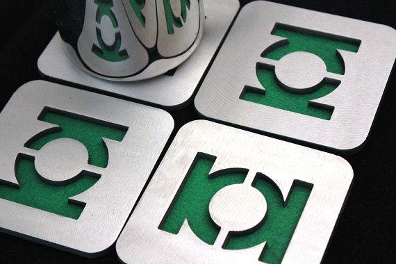 Green Lantern Set of 4 Steel felt DC Comics by ApocalypseFab, $29.95