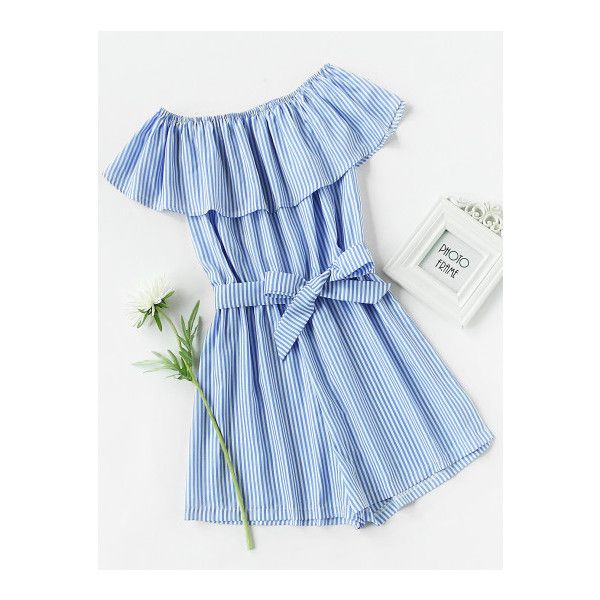 SheIn(sheinside) Frill Bardot Self Tie Striped Romper ($13) ❤ liked on Polyvore featuring jumpsuits, rompers, blue, stripe romper, off the shoulder ruffle jumpsuit, striped rompers, off shoulder romper and blue rompers
