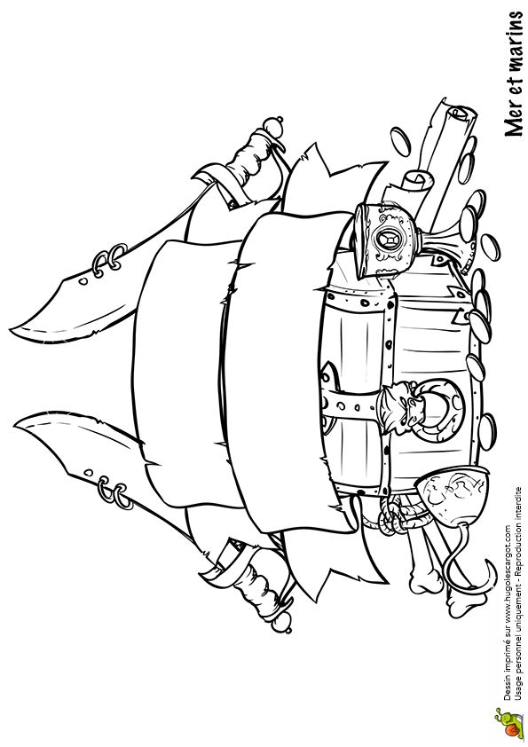 Les 72 meilleures images du tableau coloriages de pirates - Coffre dessin ...
