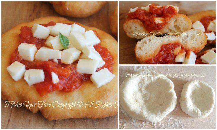 Pizzette montanara | Pizzette fritte ricetta napoletana facile e sfiziosa. Condite con pomodoro,mozzarella e basilico.Lievitato semplice e saporito,da fare!