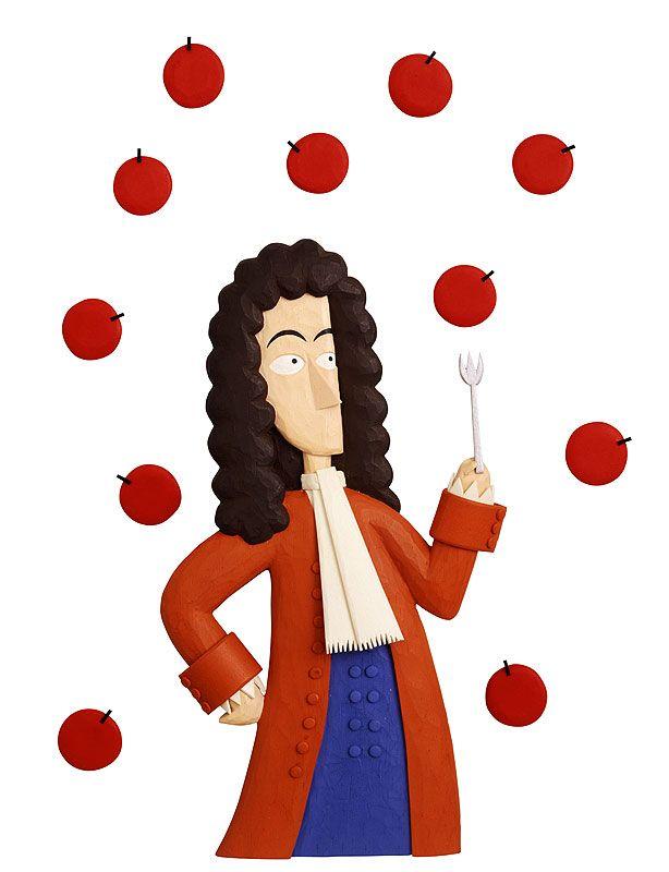 ニュートンとリンゴ -万有引力のイラスト
