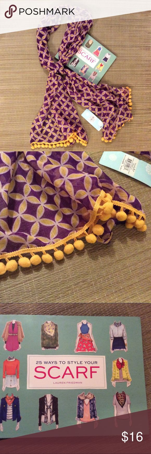 """Mud Pie Pom Pom scarf w/free book. Purple and gold scarf with Pom Pom trim.  Measures 66"""" X 20"""".  Book includes illustrated instructions for each style.  Scarf and book are both new.  Great scarf for LSU game day!😊 Mud Pie Accessories Scarves & Wraps"""