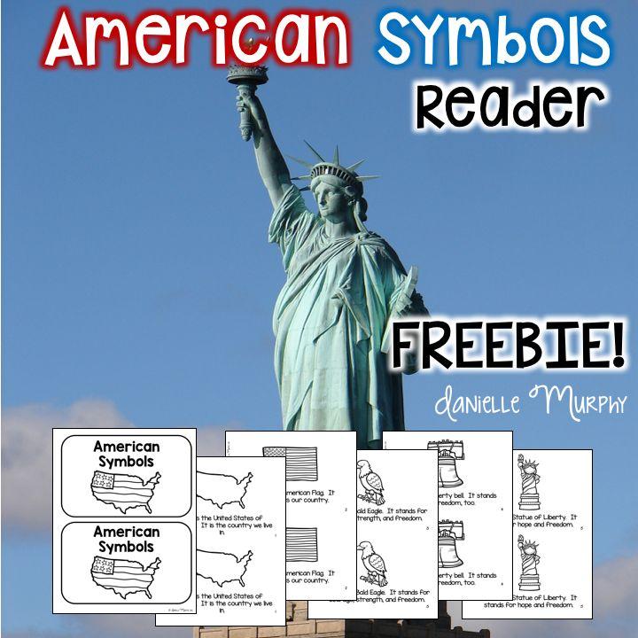 FREE American Symbols reader for Kindergarten, 1st, 2nd grade!  Fun for President's Day!