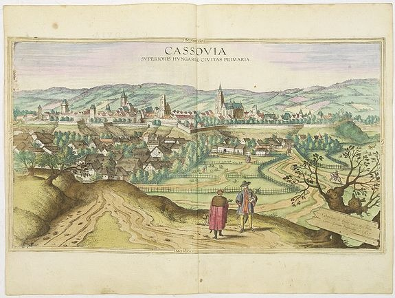 "Cassovia superioris Hungariae civitas primaria, G. Hoefnagel (1617)  Publisher : BRAUN, G./HOGENBERG, F. Latin description on verso, by Braun : ""Kosice is a large and well-fortified city in the Kingdom of Hungary. Situated on the borders to Transylvania on the Hernad, the city is in a good position both for protecting the country and for craft trades and commerce. It is one of the most important strongholds in the whole kingdom and capable of soundly defeating even the most powerful enemy."""