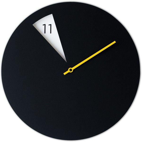 Sabrina Fossi Design FreakishCLOCK Wall Clocks Black - freakishclock... ($84) ❤ liked on Polyvore featuring home, home decor, clocks, multi, black clock, black home decor, yellow wall clock, yellow home decor and black wall clock