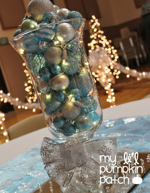 DIY Wedding Decor no flower centerpiece, baubles, fairy lights and large vases, very effective and easy to arrange!