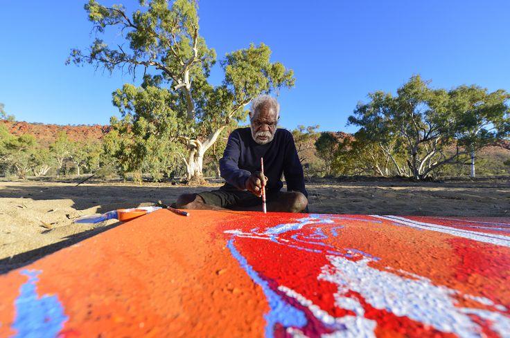 Yannima Pikarli Tommy Watson in his studio near Alice Springs, NT, Australia