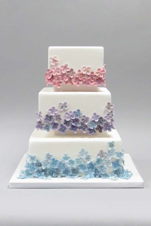 Pastel Floral Birthday Cakes | ... Pastel Flowers on White Cake - Birthday Cake, Flower Cake, Wedding