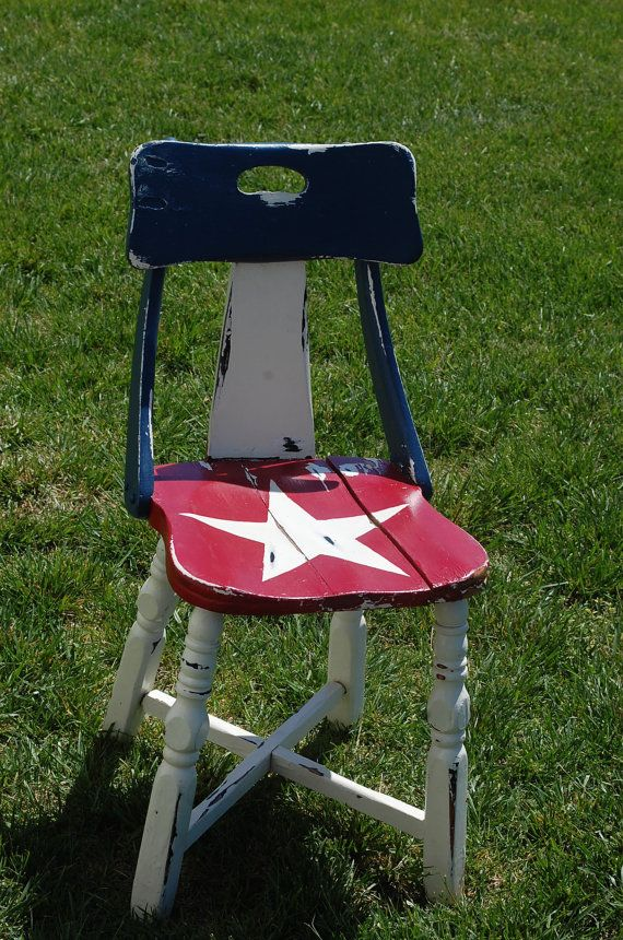 SHIPS FREE! One of a Kind - Reclaimed Vintage Americana Decor Chair / Retro by RJsThisandThat, $75.00