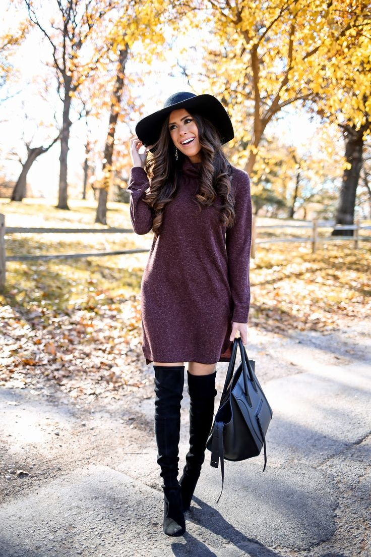 thanksgiving outfit idea: sweater dress + OTK boots = awesome