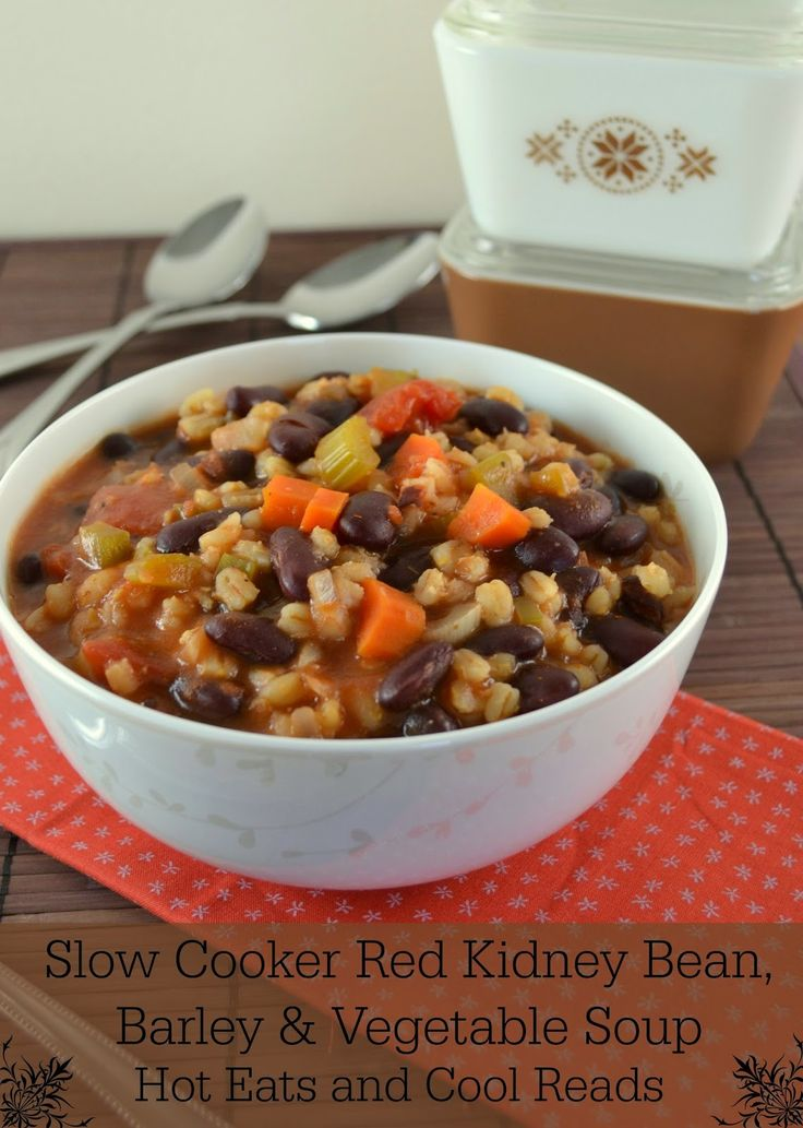 Such a hearty and delicious meatless meal! Slow Cooker Red Kidney Bean, Barley and Vegetable Soup from Hot Eats and Cool Reads!