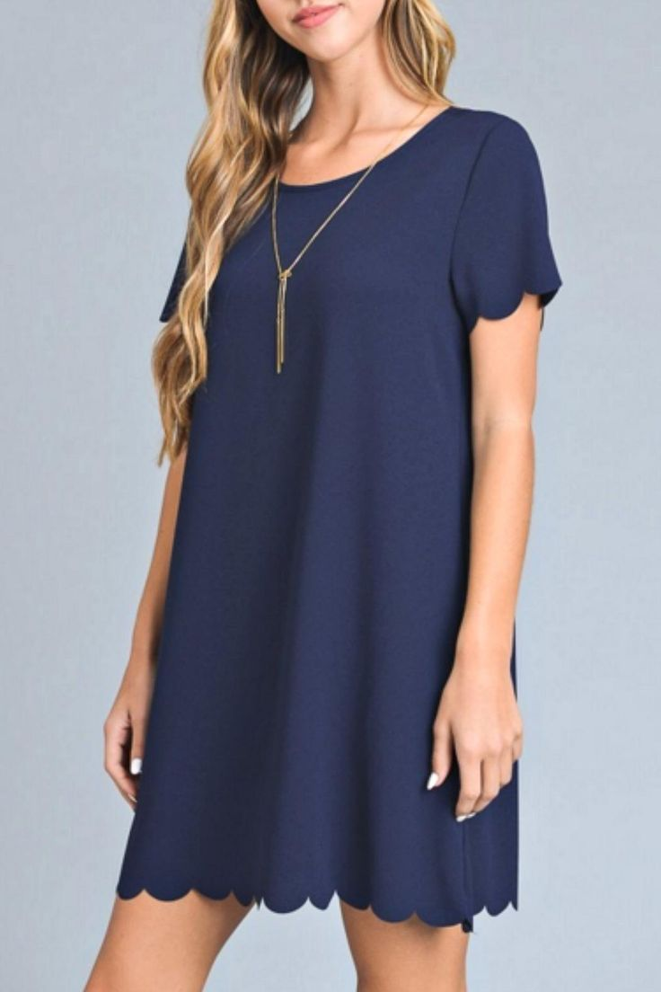 Simple yet beautiful in solid navy with a scalloped edge detail on the sleeves and skirt.   Navy Scalloped Dress by vanilla bay. Clothing - Dresses - Mini Kentucky