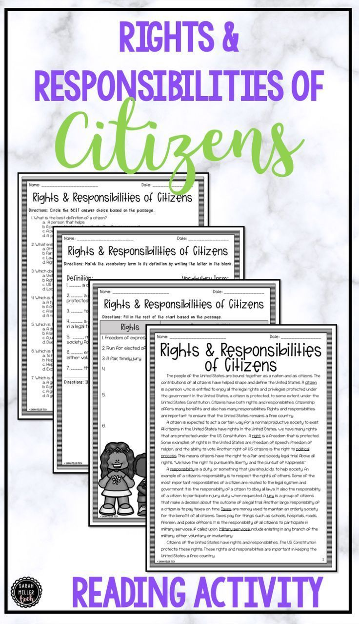 hight resolution of Citizens' Rights \u0026 Responsibilities Reading \u0026 Writing Activity (SS5CG1