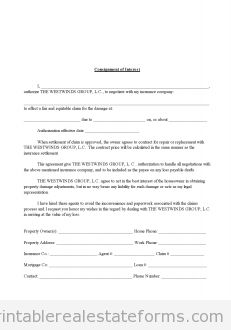 Printable consignment of interest in insurance claim template 2015