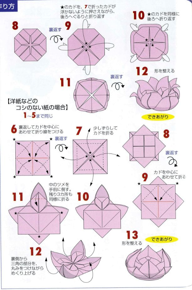 Origami instructions on how to fold the traditional origami lotus flower. View the diagram and easy video tutorial! Make lots of pretty origami flowers!