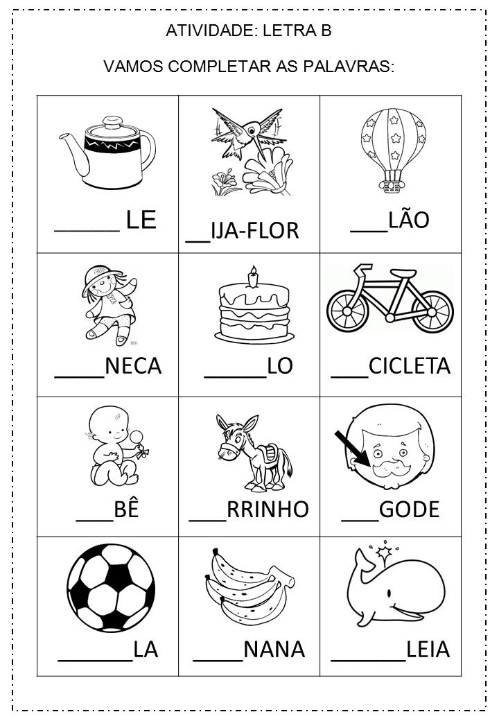 Pin De Betinha Silva Em Letra B Em 2020 Atividades Letra E