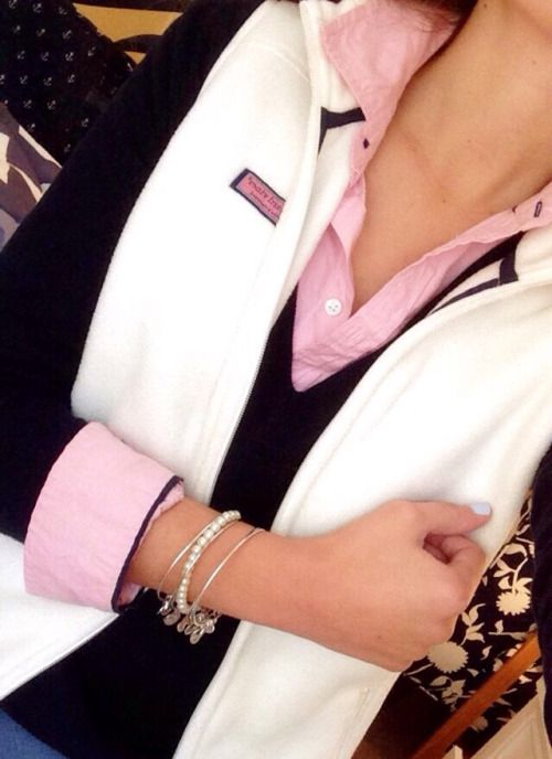 White Vineyard Vines vest matched with layers of navy and pink.